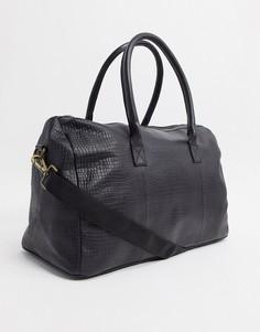 Черная кожаная сумка с крокодиловым рисунком ASOS DESIGN-Черный