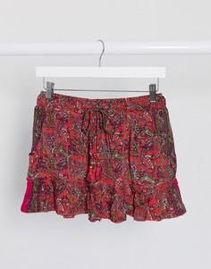 Красная мини-юбка с принтомRaga-Красный