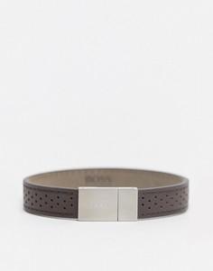 Коричневый кожаный браслет с серебристой застежкой Hugo Boss