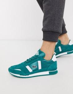 Зеленые кроссовки в стиле ретро Lacoste-Зеленый