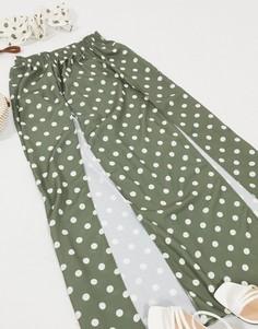 Пляжная юбка макси цвета хаки в горошек от комплекта ASOS DESIGN-Мульти