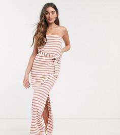 Платье-бандо макси с поясом в розовую полоску ASOS DESIGN Petite-Мульти