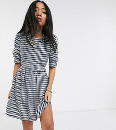 Темно-синее чайное платье мини в клеточку Topshop Petite-Темно-синий