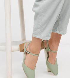 Эксклюзивные туфли шалфейно-зеленого цвета на среднем каблуке с квадратным носом RAID-Зеленый