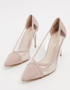 Бежевые туфли на каблуке с острым носком Miss KG-Бежевый