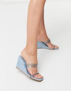 Синие туфли на танкетке с квадратным носком ASOS DESIGN-Синий