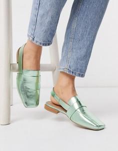 Зеленые туфли металлик с ремешком на пятке ASOS DESIGN-Зеленый