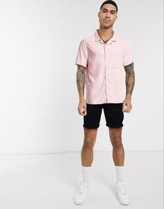 Розовая рубашка с короткими рукавами и воротником в виде лацканов Topman-Розовый