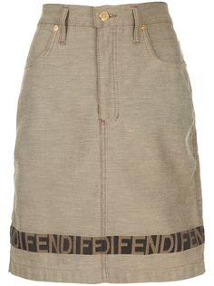 Fendi Pre-Owned юбка узкого кроя с контрастной полоской и логотипом