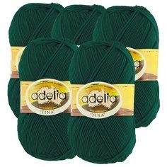 Пряжа Adelia Tina, 100 % акрил, 100 г, 308 м, 5 шт., №058 т.зеленый