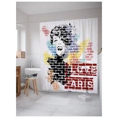 Штора для ванной JoyArty Парижское граффити 180х200 (sc-21040) разноцветный