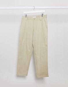 Светло-бежевые широкие брюки до щиколотки Topman-Светло-бежевый