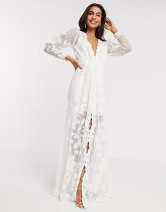 Свадебное платье с пышными рукавами и вышивкой ASOS EDITION-Белый
