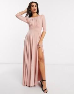 Розовое платье макси с длинными рукавами Goddiva-Розовый
