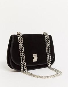 Черная замшевая сумка через плечо Urbancode-Черный