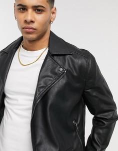Черная байкерская куртка New Look-Черный
