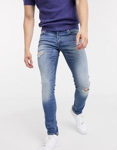 Синие узкие джинсы стретч с рваной отделкой Jack & Jones Intelligence-Синий