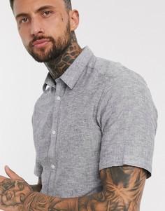 Синяя рубашка с короткими рукавами с добавлением льна Only & Sons-Темно-синий