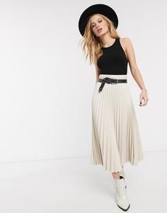 Плиссированная юбка миди кремового цвета из искусственной кожи Topshop-Кремовый