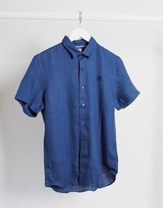 Льняная рубашка с короткими рукавами Timberland-Черный
