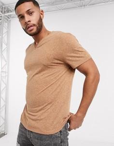 Свободная футболка-туника с добавлением льна ASOS DESIGN-Коричневый
