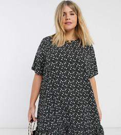 Платье мини с асимметричным подолом в цветочек AX Paris Plus-Черный