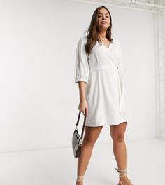 Белое льняное платье мини с запахом Vero Moda Curve-Белый