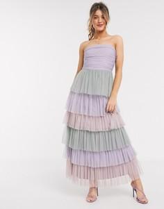Ярусное платье-бандо мидакси с принтом Anaya With Love-Мульти