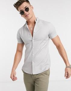 Серая облегающая оксфордская рубашка с короткими рукавами New Look-Серый