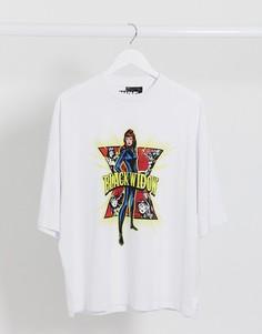 """Свободная футболка с принтом """"BlackWidow""""ASOS DESIGN-Белый"""