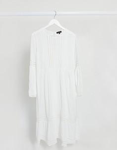 Белое свободное платье макси со вставками кроше Selected Femme-Белый