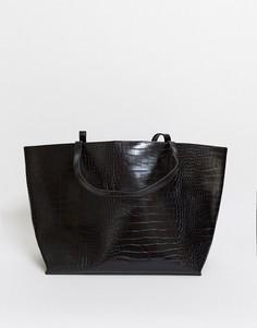Черная сумкас эффектомкрокодиловойкожи Glamorous-Черный