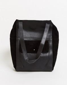 Черная кожаная сумка-тоут с замшевой отделкой Urbancode-Черный