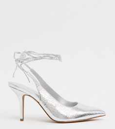 Серебристые туфли для широкой стопы на каблуке ASOS DESIGN-Серебряный