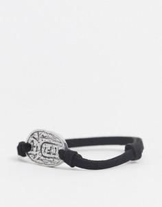 Черный браслет из искусственной замши с золотистыми подвесками Classics 77