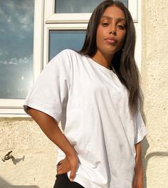 """Белая футболка в стиле oversized с рукавами """"летучая мышь"""" ASOS DESIGN Curve-Белый"""