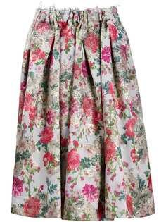 Comme Des Garçons юбка с цветочным принтом и бахромой
