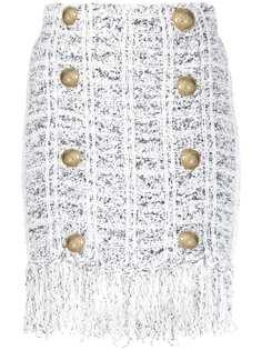 Balmain трикотажная юбка с бахромой