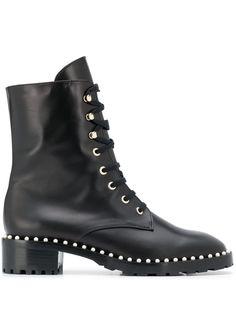 Stuart Weitzman ботинки на шнуровке с заклепками