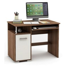 Компьютерный стол Владимирская мебельная фабрика Амбер-1/2, 96.6х60 см, тумба: слева, цвет: ясень шимо темный/белый
