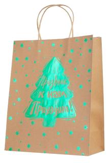 """Пакет бумажный """"Зеленая елка"""", 26х32,4х12,7 см Феникс Present"""