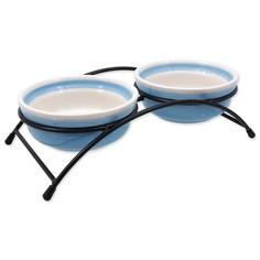 миски керамические на подставке 2*12*5 см голубые Dog Fantasy