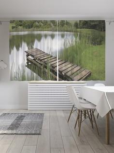 Шторы под лён «Озерный мостик», серия Oxford DeLux, 290х180 см Joy Arty