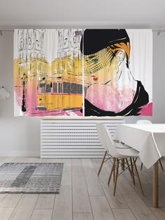 Шторы под лён «Модное ретро», серия Oxford DeLux, 290х180 см Joy Arty