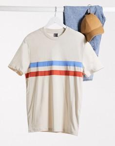 Светлая футболка с полосками на груди ASOS DESIGN-Серый