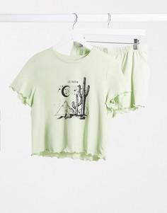 Пижама мятного цвета из топа и шортов с солнцемTopshop-Синий