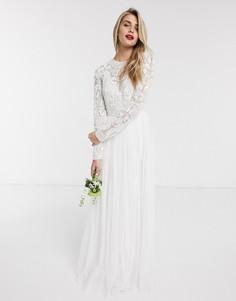 Свадебноеплатьес бисером на топе ASOS EDITION-Белый
