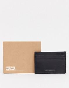 Черная кожаная кредитница с тиснением ASOS DESIGN-Черный
