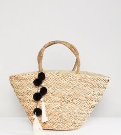 Соломенная пляжная сумка с черными и белыми помпонами South Beach-Бежевый