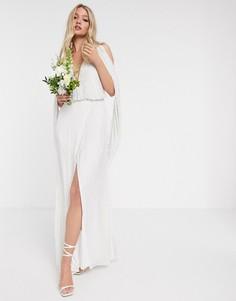 Свадебное платье с отделкой бисером и драпированными рукавами ASOS EDITION-Белый